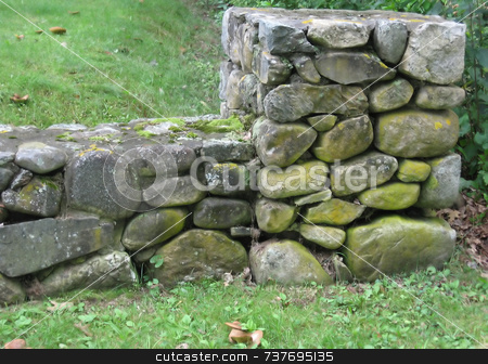 Classic Stone Fence, Hand Laid by Stone Mason stock photo,  by Tom and Beth Pulsipher