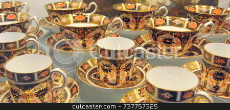 Antique Cups and Saucers stock photo,  by Tom and Beth Pulsipher
