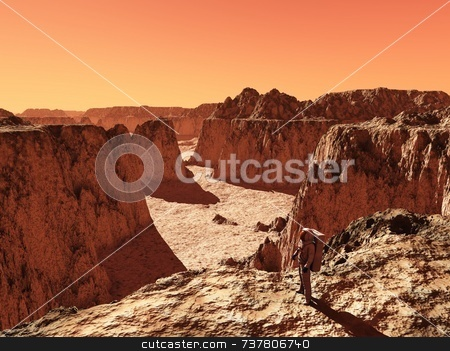 Astronaut on Mars stock photo, Astronaut on Mars by Allan Tooley