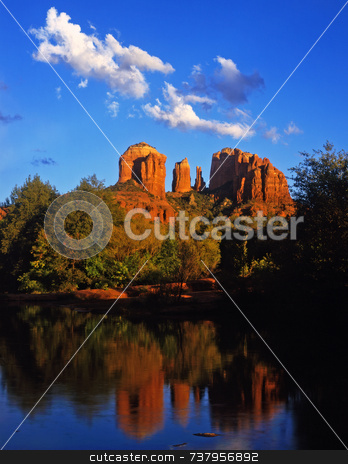 Cathedral Rock stock photo, Cathedral Rock and Oak Creek Canyon near Sedona, Arizona. by Mike Norton