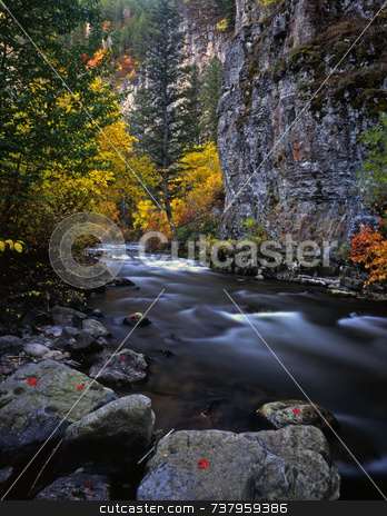 Logan River stock photo, The Logan River, in Utah, photographed during the autumn season. by Mike Norton