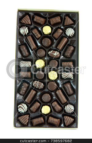 Box of chocolates stock photo, Box of chocolates isolated on white background with clipping path food concepts by EVANGELOS THOMAIDIS