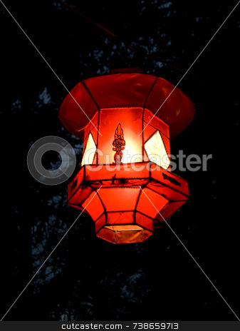 Red lantern stock photo, A red chinese chinese lantern made of rice paper by Jean Larue-Frechette