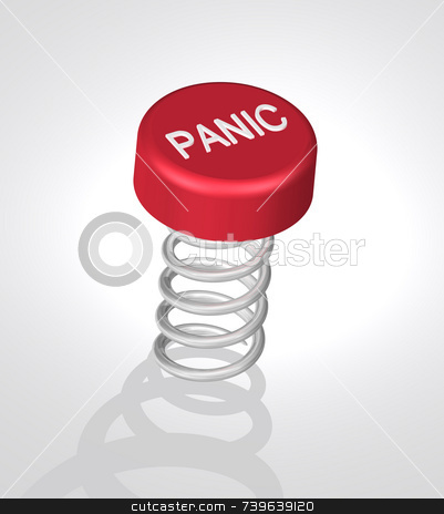 Red Panic Button stock photo, 3d render of red panic button with white letters. Subtle lighting on white background with subtle grey gradient, the button sits atop a coil spring waiting to be pushed. Coil shadow in front of image. High quality reflections on object. by ngirl