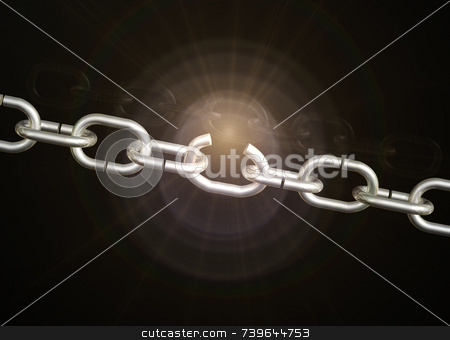 Weak Chain Link stock photo, Weak chain breaks open with subtle golden light flare on black background. by ngirl