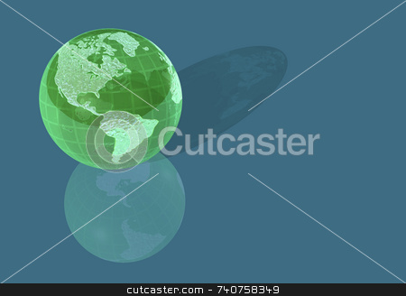 Green Glass World Globe stock photo, Green glass world globe on blue is translucent with North and South America continents on front. Antarctica reflects off the bottom surface. Nice eco colors of green in blue for save the planet and environmental themes. by ngirl