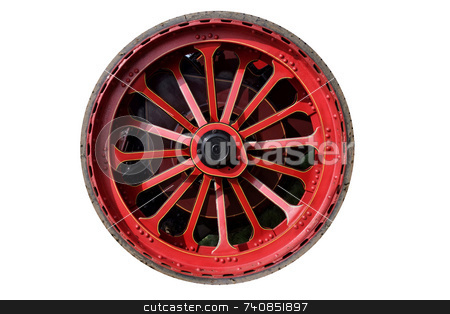 Big Wheel stock photo, Isolated steam traction engine wheel, red with thin rubber tyre by Paul Phillips