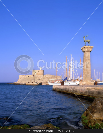 Rhodes old port stock photo, Rhodian deer atop the columns that protect Mandraki harbour entrance, on the Greek island of Rhodes by Paul Phillips