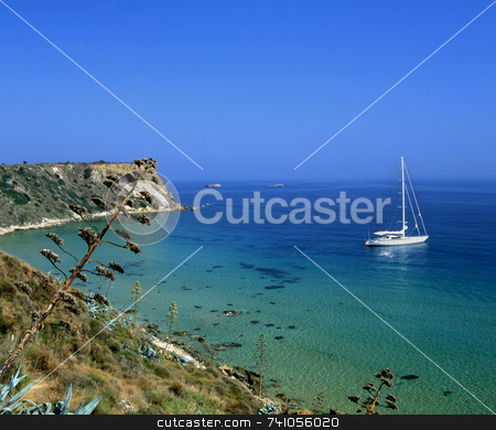 Kefalonia sailing stock photo, Sailboat moored off the greek island of Kefalonia by Paul Phillips