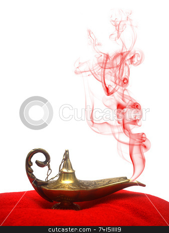 Smoking Genie Lamp stock photo, A magical genie lamp with smoke on a red velvet pillow. by Daniel Wiedemann