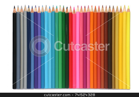 Colored pencils isolated on a white background stock photo, Colored pencils isolated on a white background by Stephen Rees