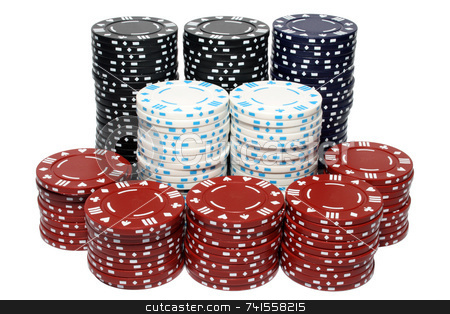 Lots of poker chip stacks, isolated on a white background. stock photo, Lots of poker chip stacks, isolated on a white background. by Stephen Rees