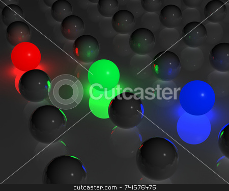 RGB spheres stock photo, RGB glowing spheres among many gray spheres by Jean Larue-Frechette