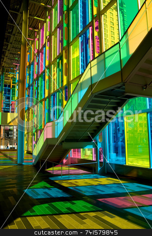 Colorful stairs 2 stock photo, Shot taken under colorful stairs in a convention center by Jean Larue-Frechette