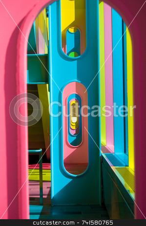 Color frames stock photo, A series of colorful metal frames in a building by Jean Larue-Frechette