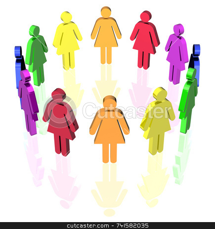 Circle women stock photo, Colored woman signs placed in circle by Jean Larue-Frechette