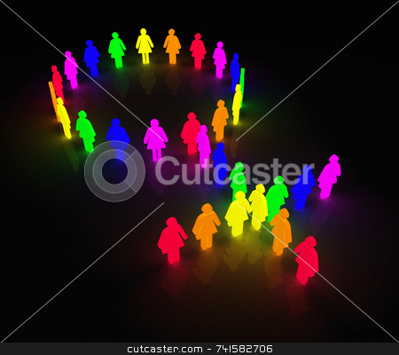 Gay-women_glow-symbol stock photo, Woman symbol made of little rainbow colored characters by Jean Larue-Frechette