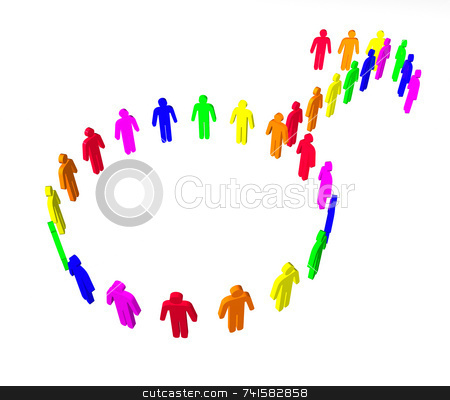 Gay rainbow symbol on white stock photo, Man symbol made of rainbow colored characters by Jean Larue-Frechette