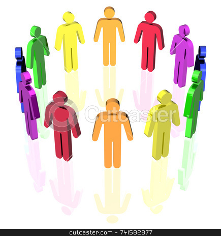 Man circle stock photo, Colored man signs in circle by Jean Larue-Frechette
