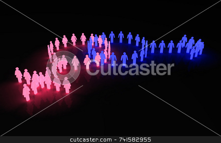 Man woman symbol 2 stock photo, Man & woman symbol made of glowing little characters by Jean Larue-Frechette