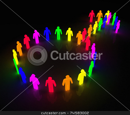 Gay-men_glow-symbol stock photo, Man symbol made of little rainbow colored characters by Jean Larue-Frechette