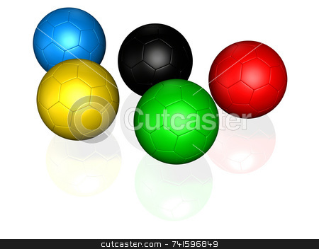 5 soccer ball  stock photo, Five soccer balls colored with the same color as olympic games logo by Jean Larue-Frechette