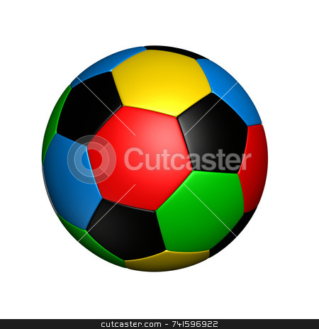 Olympic colored soccer ball stock photo, Soccer ball with colored with the same color as olympic rings by Jean Larue-Frechette