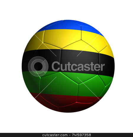 Color stripe soccer ball stock photo, Soccer ball with based on olympic color colored stripe by Jean Larue-Frechette
