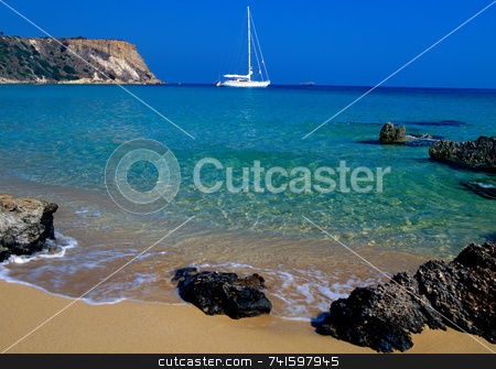 Zante stock photo, Sail boat off the coast of Zante, Zakynthos greece by Paul Phillips