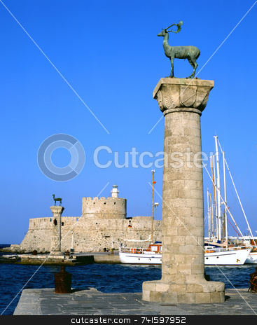 Mandraki stock photo, Rhodian deer atop the columns that protect Mandraki harbour entrance, on the Greek island of Rhodes by Paul Phillips