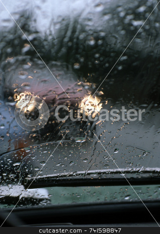 Danger stock photo, Driving in very bad weather with rain on the windscreen by Paul Phillips