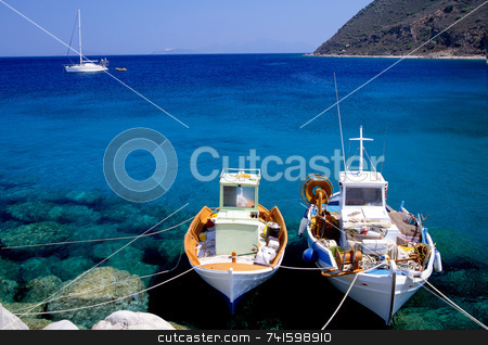 Gone Fishing stock photo, Small fishing boats on the Greek island of Corfu by Paul Phillips