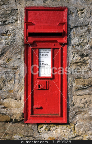 Post stock photo, UK post box fixed into wall by Paul Phillips