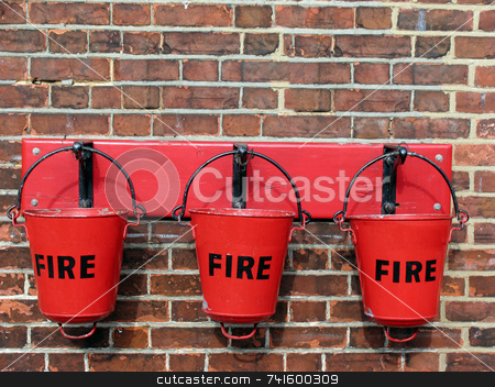 Three Fire buckets stock photo, Old fire buckets at a train station by Paul Phillips