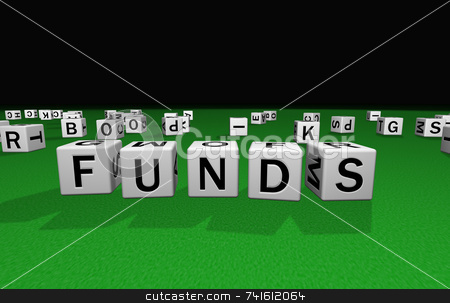 Dice funds stock photo, Dice on a green carpet making the word funds by Jean Larue-Frechette