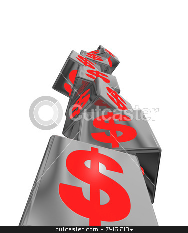 Unstable economic red stock photo, An unstable pile of block with red money symbols by Jean Larue-Frechette