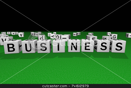 Dice business stock photo, Dice on a green carpet making the word business by Jean Larue-Frechette