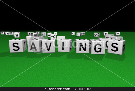 Dice savings stock photo, Dice on a green carpet making the word savings by Jean Larue-Frechette