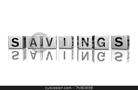 Dice white savings stock photo, Dice isolated on a white reflecting floor making the word savings by Jean Larue-Frechette