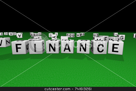 Dice finance stock photo, Dice on a green carpet making the word finance by Jean Larue-Frechette