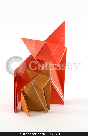 Fox Origami stock photo, Two origami fox, made of orange and brown folded paper by Jean Larue-Frechette