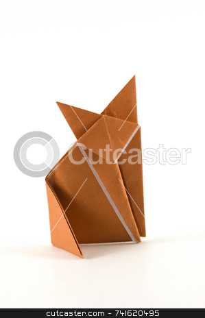Single fox origami stock photo, A fox origami made of a brown sheet of paper by Jean Larue-Frechette