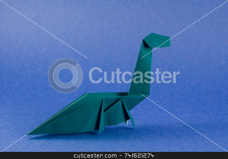 Seismosaurus dinosaur blue stock photo, An origami folding  in the shape of a seismosaurus dinosaur by Jean Larue-Frechette