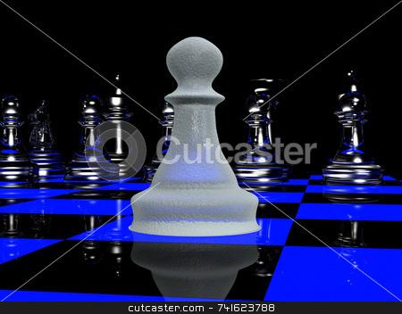 Blacklight chess 2 stock photo, Single pawn vs a full chess line-up by Jean Larue-Frechette