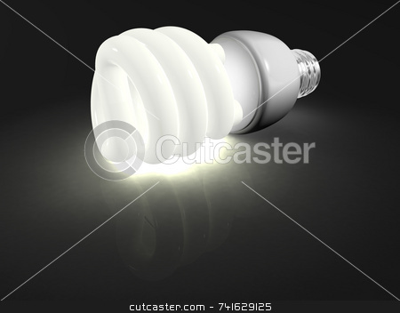 Compact fluorescent light stock photo, An 3d environment friendly compact fluorescent light by Jean Larue-Frechette