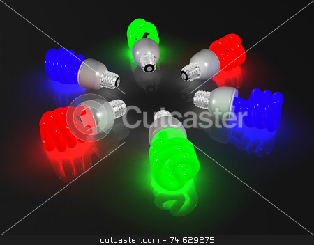 6-rgb-lightbulbs stock photo, 6 compact fluorescent light, red, blue and green by Jean Larue-Frechette