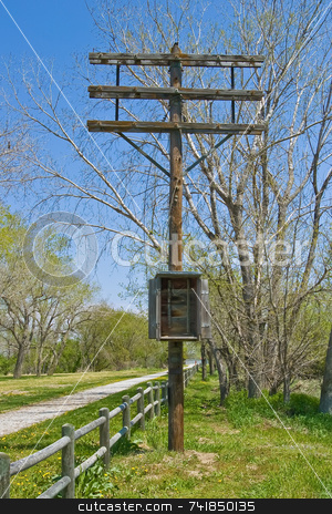 Communication Pole stock photo, Abandoned communication pole from years ago by Ron Johnson