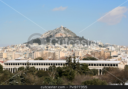 Lycabettus Hill and Ancient Marketplace stock photo, A view of (snowed) Lycabettus Hill and the Ancient Marketplace of Athens, Greece by Georgios Alexandris