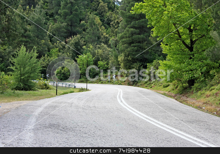 Road Curve stock photo, A curve of a country mountain paved road by Georgios Alexandris