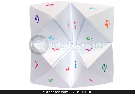 A childs cootie catcher with colorful numbers stock photo, A childs cootie catcher with colorful numbers by Stephen Rees